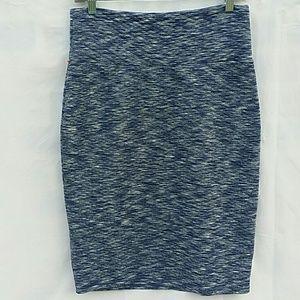 LuLaRoe Cassie Quilted Pencil Skirt Blue Black M5